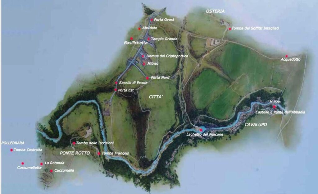 Parco di Vulci - Mappa